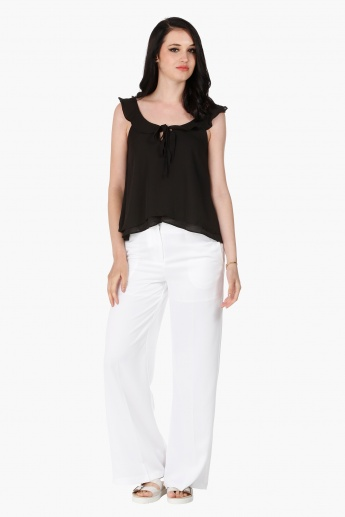 Top with Ruffle and Tie Up Detail in Regular Fit