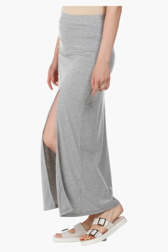 Long Skirt with Knee Length Slit and Cut and Sew Detail in Regular Fit