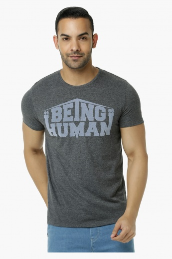 Being Human Printed Crew Neck T-Shirt with Short Sleeves