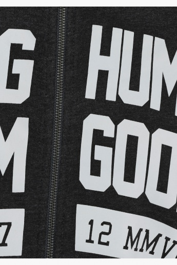 Being Human Printed Cotton Hooded Sweat Jacket