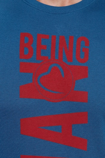 Being Human Printed Short Sleeves T-Shirt with Crew Neckline