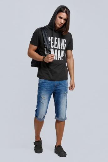 Being Human Printed Short Sleeves T-Shirt with Hood