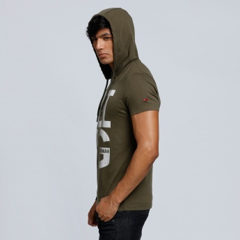 Being Human Printed T-Shirt with Hood and Short Sleeves