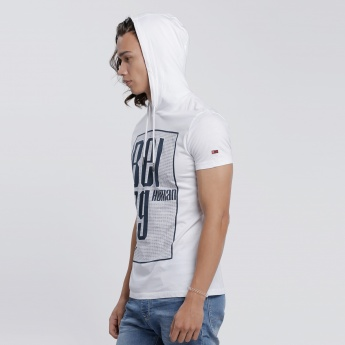 Being Human Printed T-Shirt with Short Sleeves and Hood