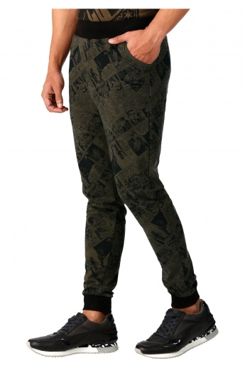 Superman Print Knit Joggers in Regular Fit