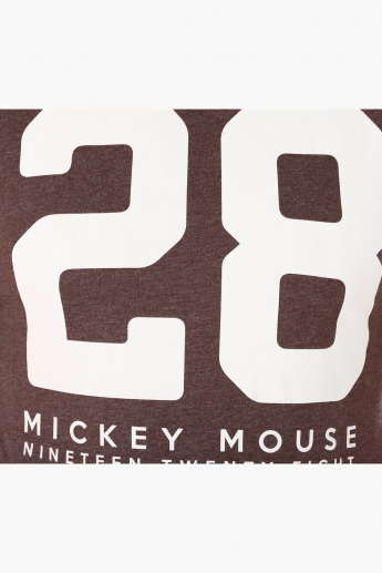 Mickey Mouse Themed Print T-Shirt in Short Sleeves