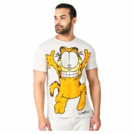 Garfield Print Round Neck T-Shirt with Half Sleeves in Regular Fit