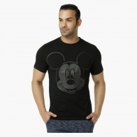 Mickey Mouse Printed Crew Neck T-Shirt with Short Sleeves