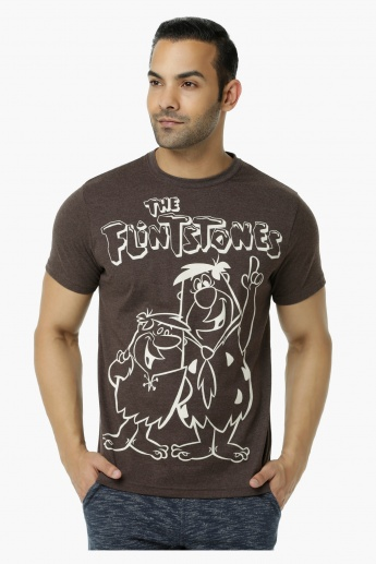 The Flintstones Printed Crew Neck T-Shirt with Short Sleeves