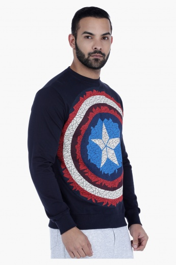 Captain America Printed Crew Neck Sweatshirt with Long Sleeves