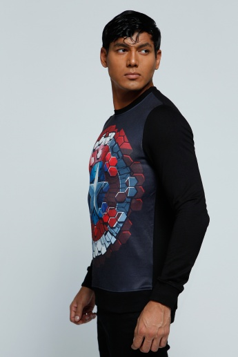 Printed T-Shirt with Long Sleeves and Crew Neck