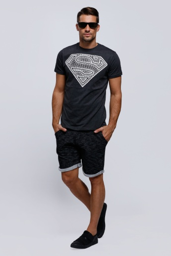 Superman Printed Round Neck T-Shirt with Short Sleeves