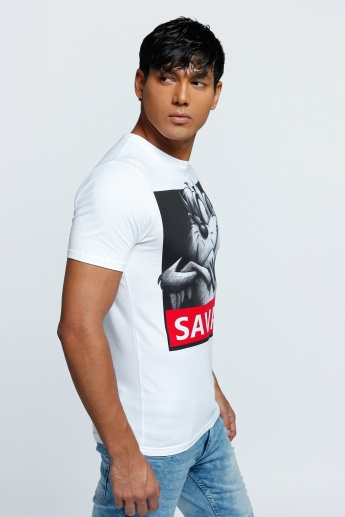Printed T-Shirt with Short Sleeves and Crew Neck