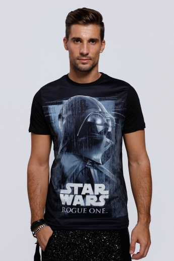 Star Wars Printed Round Neck T-Shirt with Short Sleeves