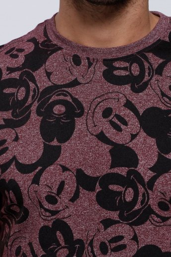 Mickey Mouse Printed Short Sleeves T-Shirt with Crew Neck
