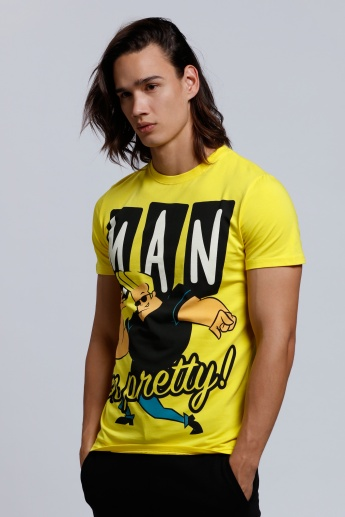 Johnny Bravo Printed T-Shirt with Round Neck and Short Sleeves