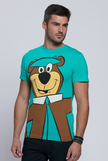 Yogi Bear Printed T-Shirt with Round Neck and Short Sleeves