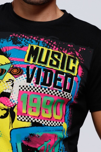 MTV Printed T-Shirt with Round Neck and Short Sleeves