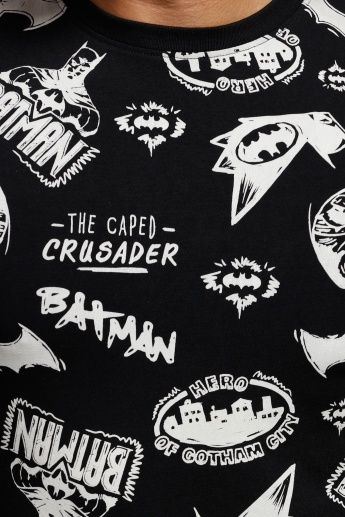 Batman Printed T-Shirt with Crew Neck and Short Sleeves