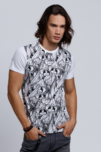 Bugs Bunny Printed T-Shirt with Short Sleeves and Round Neck