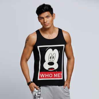 Mickey Mouse Printed Sleeveless Vest with Round Neck