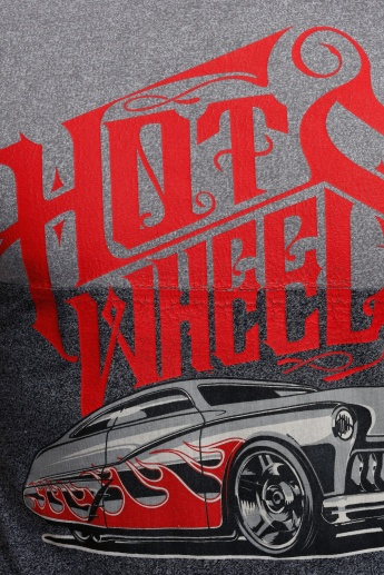 Hot Wheels Printed Crew Neck T-Shirt with Short Sleeves