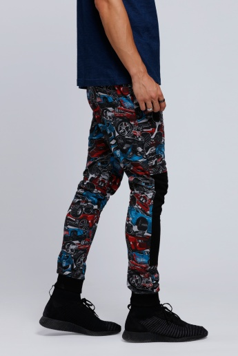 Hot Wheels Printed Full Length Pants with Snug Fitted Cuffs