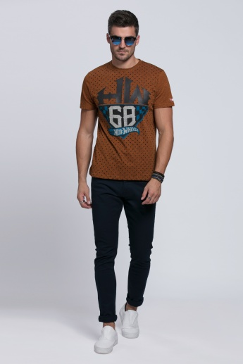 Hot Wheels Printed Round Neck T-Shirt with Short Sleeves