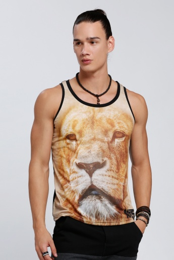 Lion Printed Sleeveless T-Shirt with Round Neck