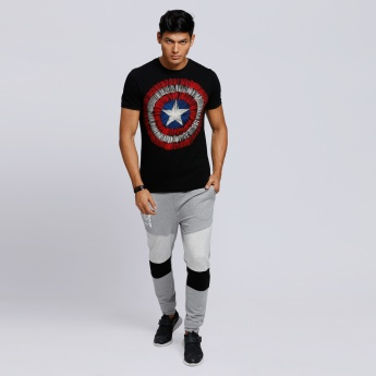 Captain America Printed T-Shirt with Short Sleeves and Crew Neck