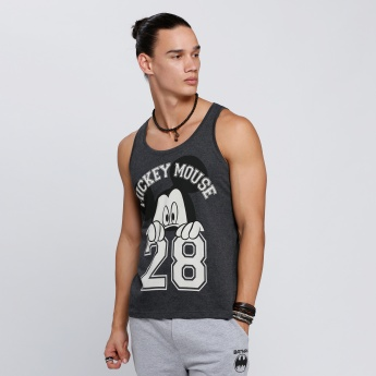 Mickey Mouse Print Sleeveless T-Shirt with Round Neck