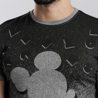Mickey Mouse Printed Round Neck T-Shirt with Short Sleeves