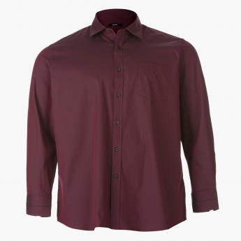 Plus Size Formal Cotton Shirt with Long Sleeves
