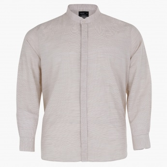 Long Sleeves Shirt with Complete Placket and Mandarin Collar