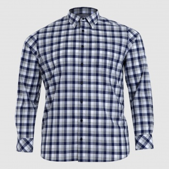 Chequered Long Sleeves Shirt with Collared Neck