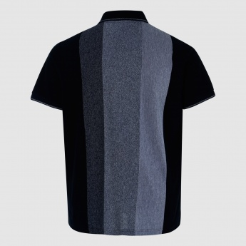 Polo Neck Striped T-Shirt with Short Sleeves