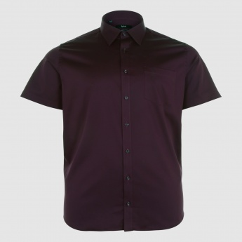 Short Sleeves Shirt with Complete Button Placket and Patch Pocket