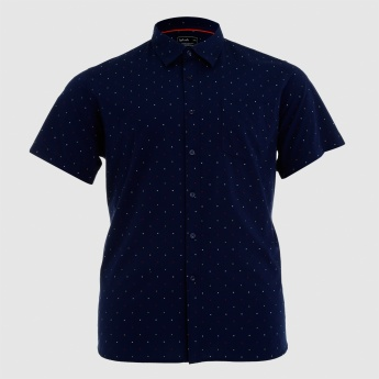 Printed Shirt with Complete Placket and Short Sleeves