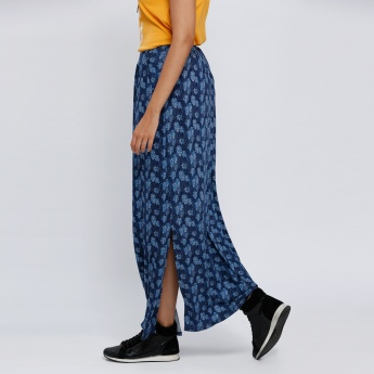 Printed Maxi Skirt with Slit and Pocket