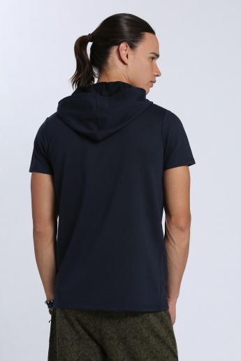 Printed Short Sleeves T-Shirt with Hood