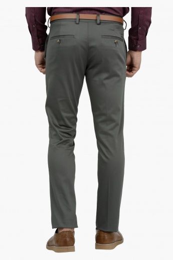 Slim Fit Casual Trousers with Adjustable Waistband