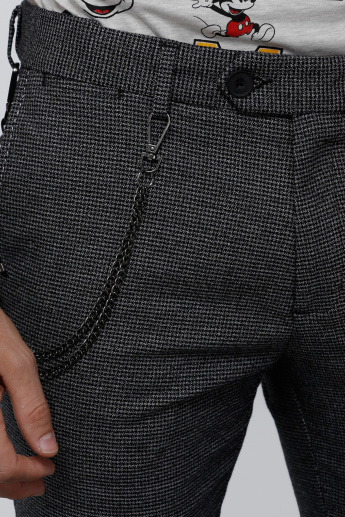 Textured Full Length Trousers with Button Closure in Slim Fit